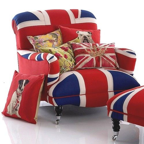 Union Jack Chair and Ottoman...Cute!!! Love