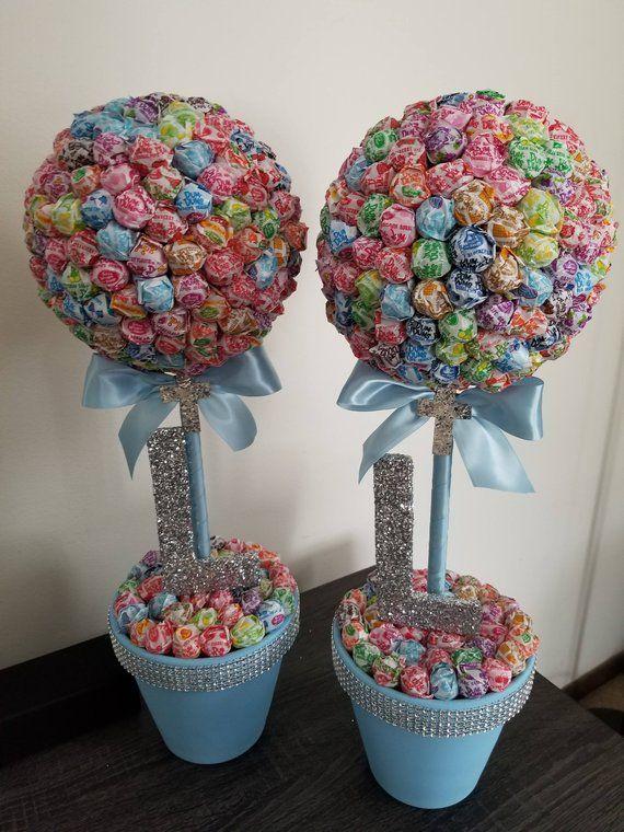 2 First Communion, Baptism, Christening – Dum Dums Topiaries, Lollipop Tree, Candy Station decoratio