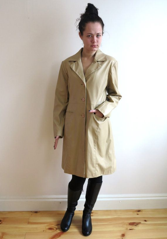 Sand Beige Faux Leather Trench Coat Womens Raincoat Lining Classic Large Size