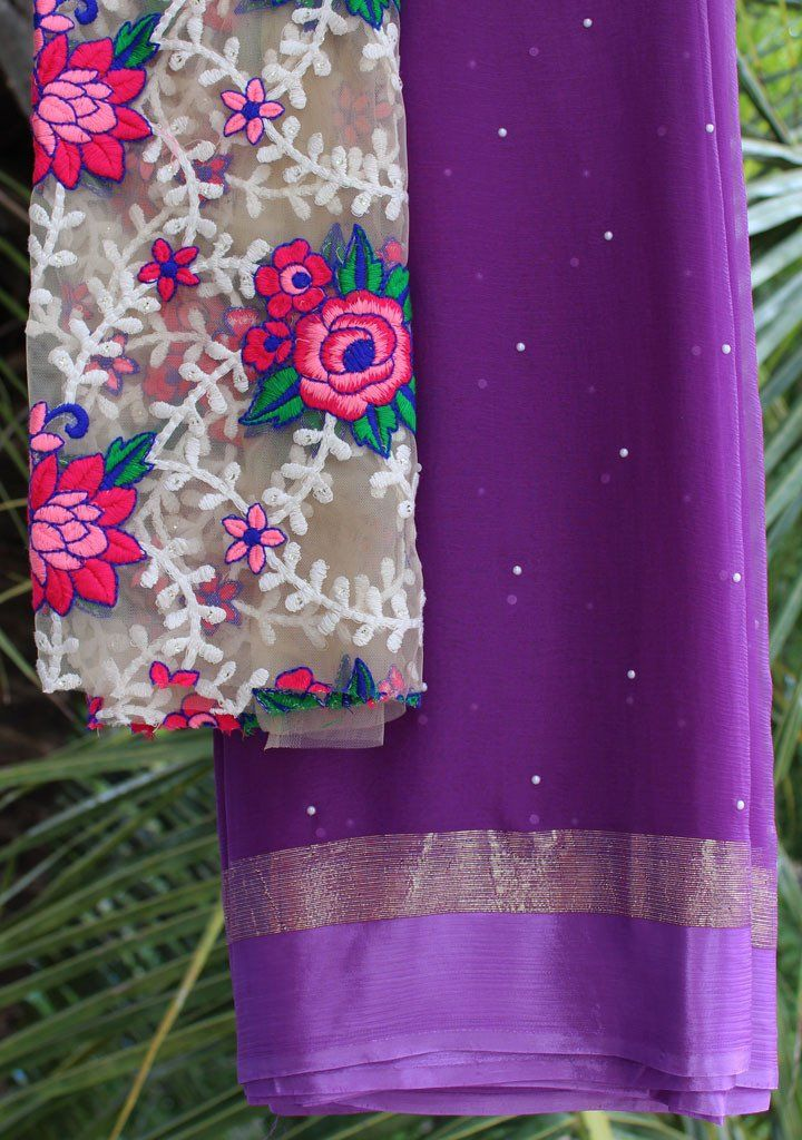 Purple moti saree with embroidered blouse piece – Rang Mohe