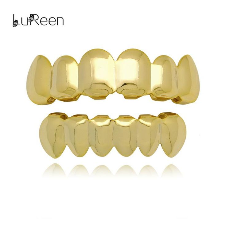 Wallmart.win LuReen Hip Hop Gold Teeth Grills Top&Bottom Teeth Grills Dental Vampire Teeth Caps Mouth Halloween Party Body Jewelry LD0010:…