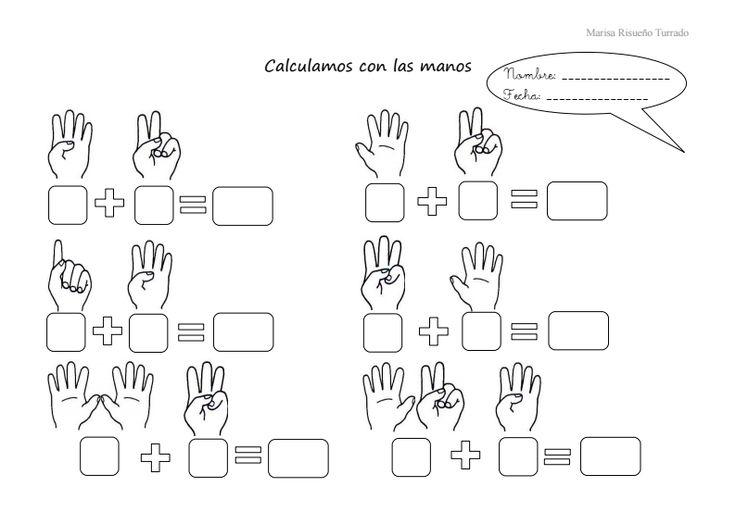 """Marisa Risueño Turrado maestra en el""""CEIP Ntra. Sra. De Los Remedios"""" deCártama (Málaga) nos envía esta ficha que ha realizado para calcular con la ayuda de los dedos de las manos. Se trata de primeras sumas, aquellas que podemos representar con los dedos de las manos (3 + 5) o …"""