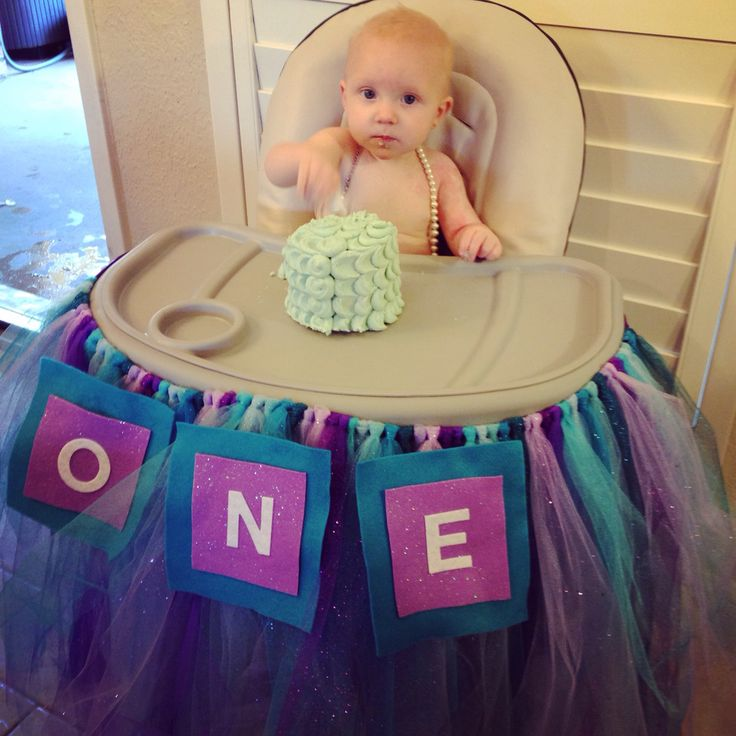 Purple and turquoise teal petal smash cake diy high chair tutu first birthday