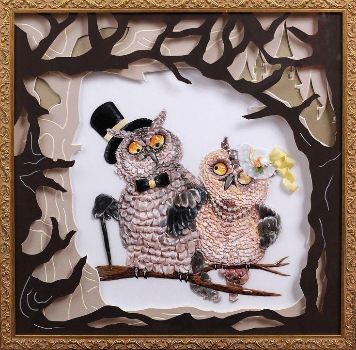 """Купить Картина вышитая лентами """"СОВЫ"""" - совы, вышивка лентами купить, вышивка лентами картины"""