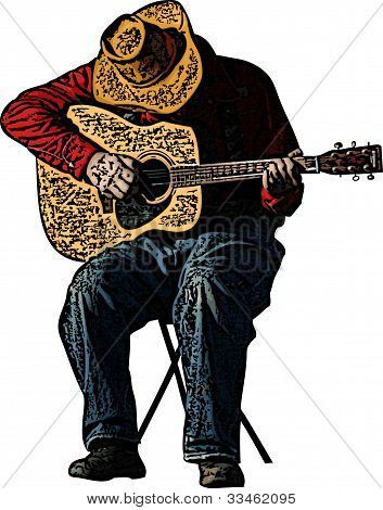 Drawing A Guitar Cowboy Playing Guitar Illustration