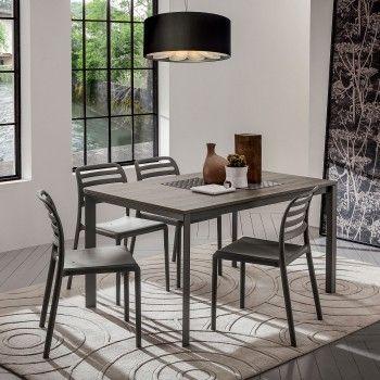 Tavolo da pranzo rettangolare con piano laminato Draco. Struttura in metallo verniciato grigio londra e piano in melaminico rovere grigio.