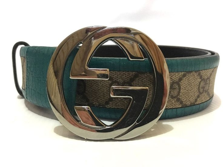 Authentic Gucci Guccissima Monogram GG Turquoise Leather Belt Silver Color #Gucci #