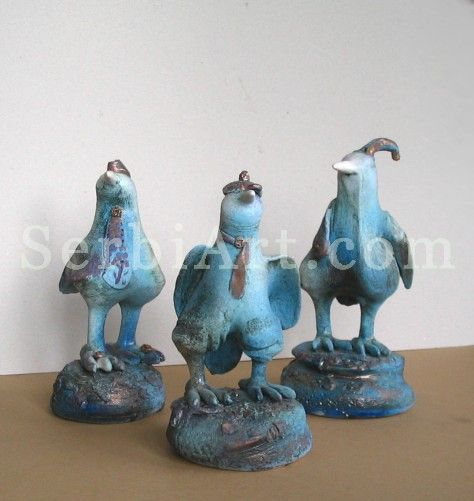 Gordana Kitak, Clay ceramics artwork,  Three birds, 2011        Clay - ceramics artwork