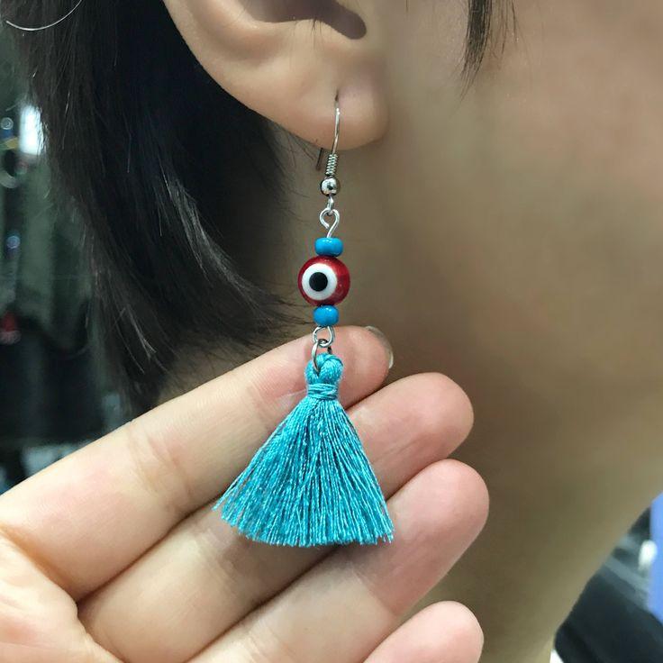 Evil Eye Earrings, Tassel Earrings, Eye Studs, Resin Eyes, Evil Eye Jewelry, Turkish Jewelry, Blue Evil Eye, Greek by BosphorusBeads on Etsy