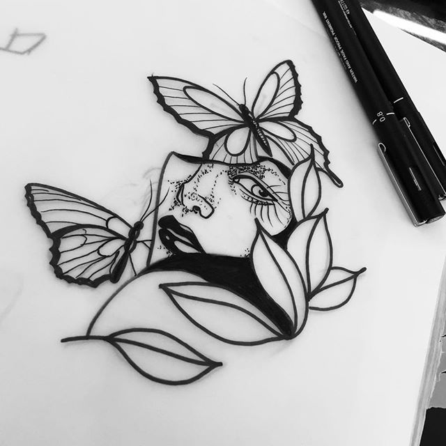 Line Art Marker Black Girl Woman Face Flower Butterfly Drawing