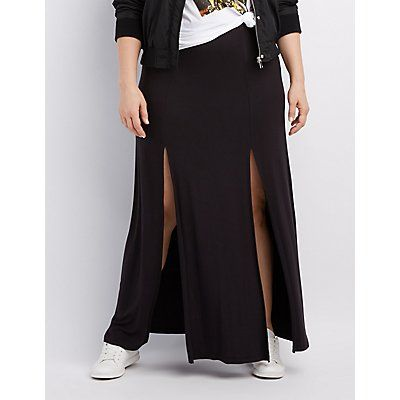 Plus Size Black Slit Maxi Skirt - Size 1X