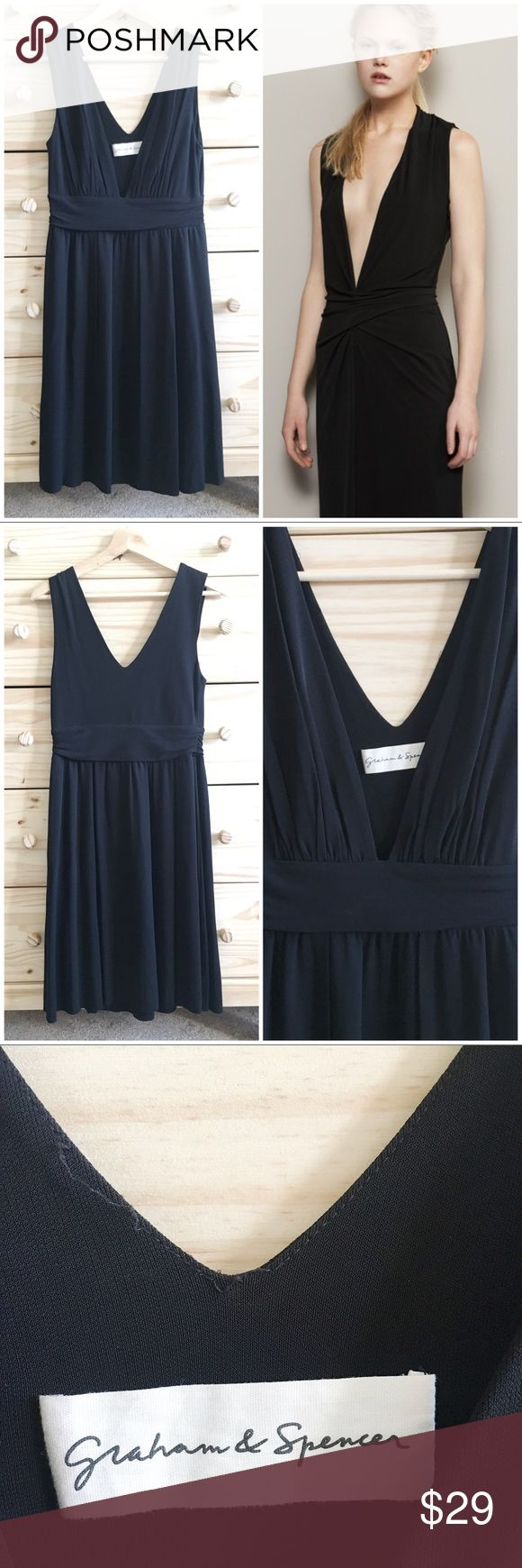 Graham & Spencer Deep V Neck Black Cocktail Dress Stunning black cocktail dress from Graham & Spencer in a classic black. Perfect little black dress for a holiday occasion or other. A few loose threads on inside back, they don't show when dress is on. Please see pics. Great condition otherwise. Dress in stock photo is not exact dress but similar cut from G&S to show fit. Graham & Spencer Dresses