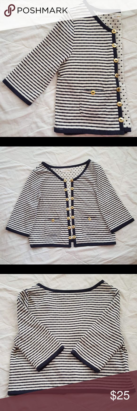 """Anthropologie striped nautical cardigan sweater Pilcro and the letterpress navy and white striped cardigan sweater, blue polkadot interior decorative buttons on front with small pockets 1/2 sleeve lightweight, perfect for summer EUC  Chest 17 1/2"""" Length 17"""" Bin#3 Anthropologie Sweaters Cardigans"""