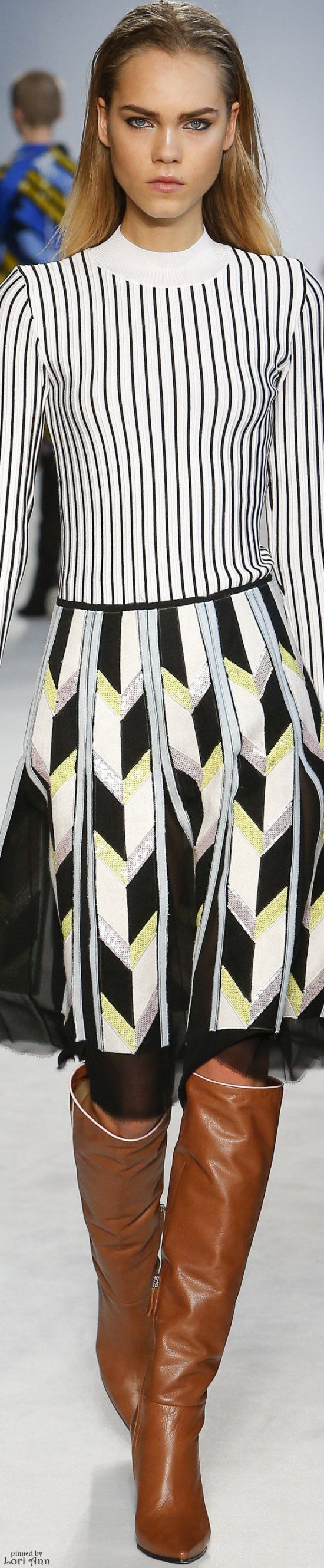 Emilio Pucci F-16 RTW: striped top, patterned skirt with sequins.
