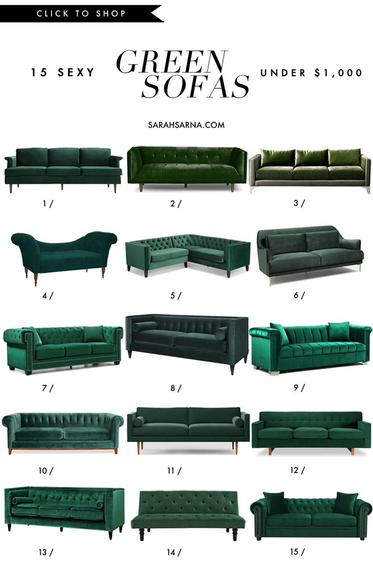 If you've never considered this couch color before before, meet the sexy green sofa, and shop 15 of my affordable favorites, all under $1,000. See more: http://www.sarahsarna.com/green-sofa/
