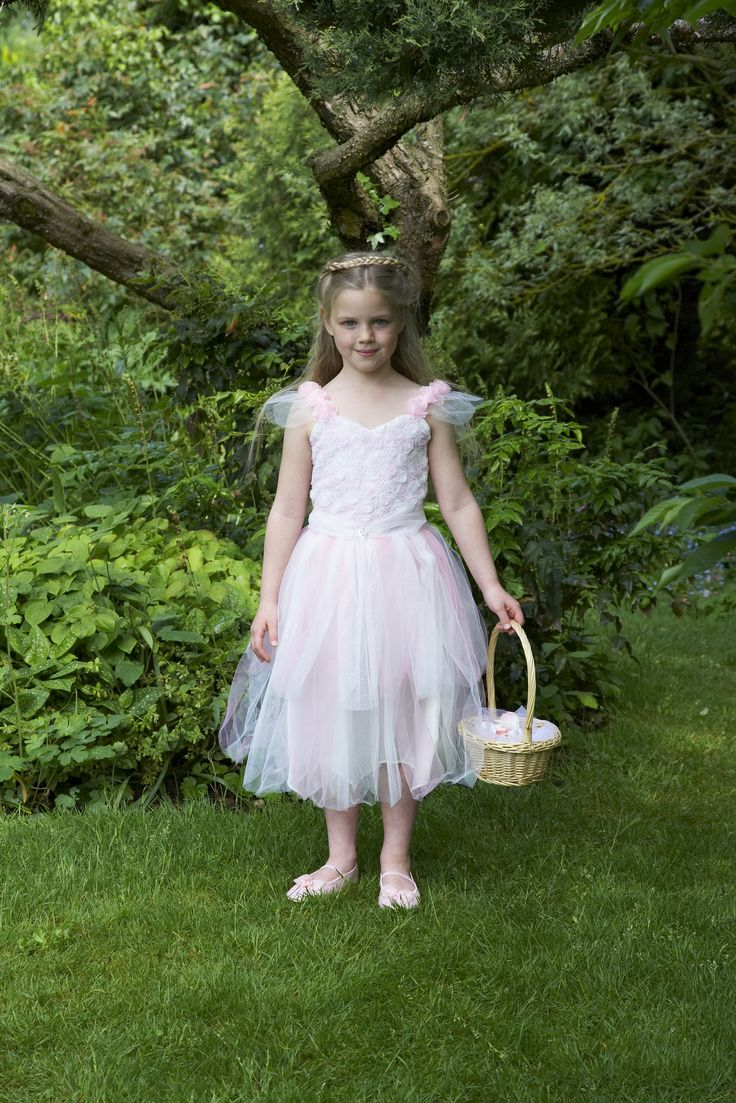 Sugar Rose Fairy ~  This gorgeous pale pink and white fairy fancy dress costume has pretty rose covered bodice and a multi layered staggered net skirt.  The shoulders are decorated with pink roses and netting and there is a glittering heart shaped jewel at the waist. 3-5 years and 6-8 years  £36.00
