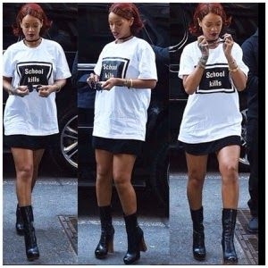 """Welcome to Elizabeth Aluko's Blog: Rihanna Spotted in NY On T Shirt with a Monogram """"..."""