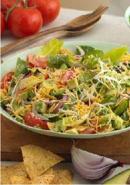 Chopped Salad with Tortilla Chips and Avocado Dressing – This salad tastes so good, you would never guess that this is a Healthy Living recipe.
