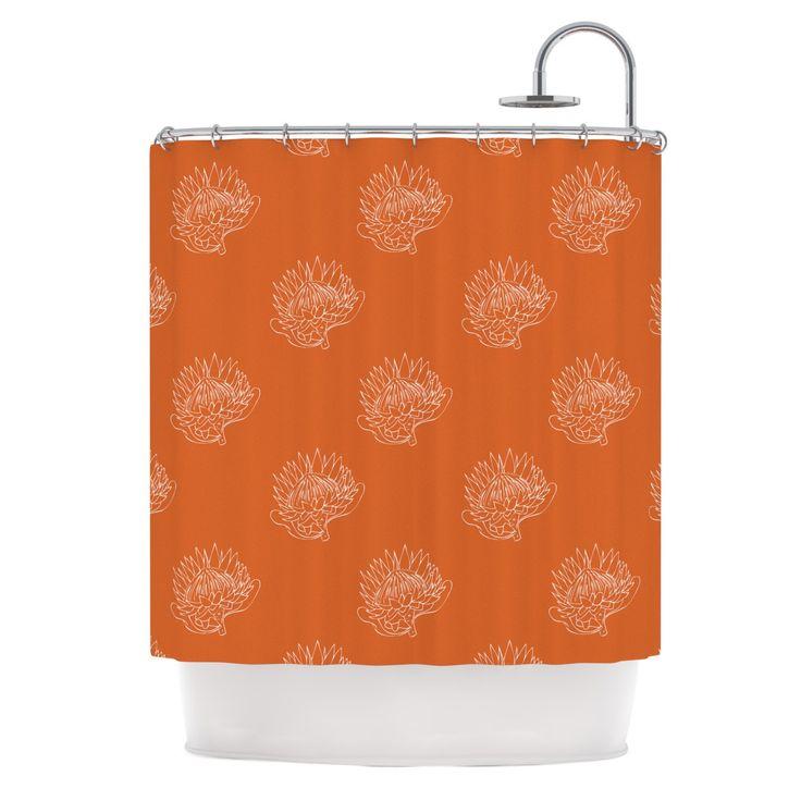"Anneline Sophia ""Simpley Protea"" Orange Shower Curtain"