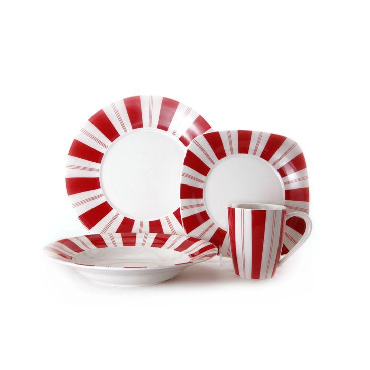 Red Vanilla Tuxedo Rouge 16-piece Dinnerware Set | Overstock.com