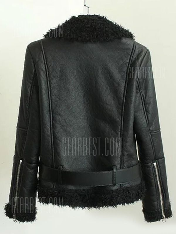 Just US$36.72 + free shipping, buy Black Fleece Lined Biker Jacket With Asymmetrical Zip online shopping at GearBest.com.