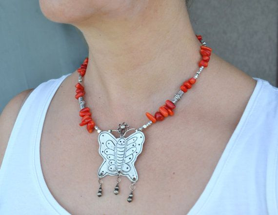 Coral Necklace with Tribal Handcrafted Butterfly Miao by LKArtChic