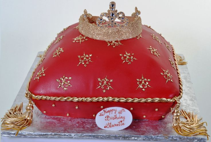 "Pastry Palace Las Vegas - - ""Princess Pillow."" Red Pillow-Shaped Cake with Gold Trim and Crown. Specialty, Birthday and Bridal Shower Cake #742."