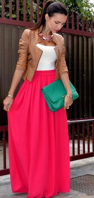 :)Colors Combos, Fashion, Outfit, Long Skirts, Maxis Dresses, Pink Maxis, Leather Jackets, Maxi Skirts, Maxis Skirts