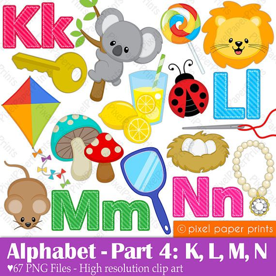 Alphabet Clipart Part 4 ABC clip art KLMN por pixelpaperprints