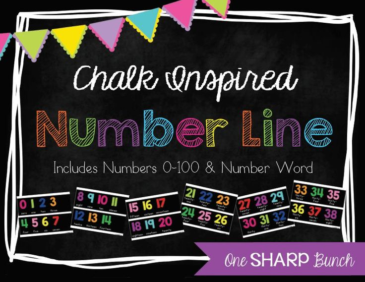 Chalk Inspired Number Line! Includes numbers 0-100, plus the number word!