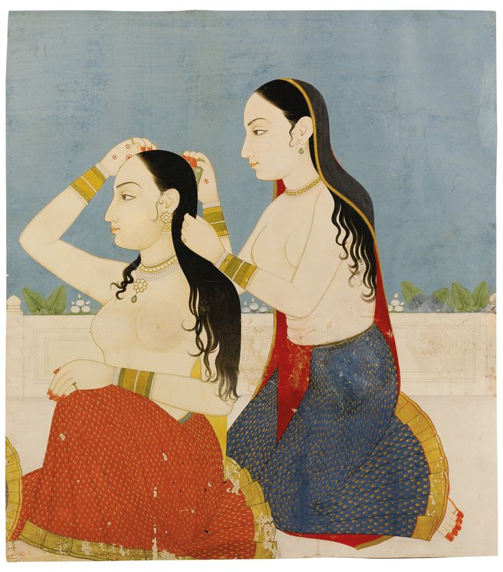 Two ladies at their toilette, Jaipur, 1750-75<br /><br /><br…