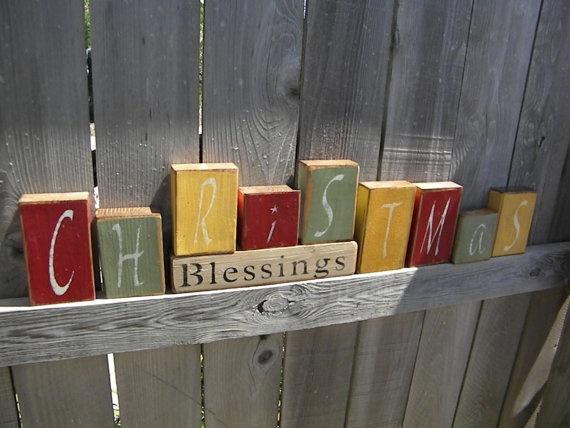 Christmas Blessing Blocks by Wildoaks on Etsy, $31.00