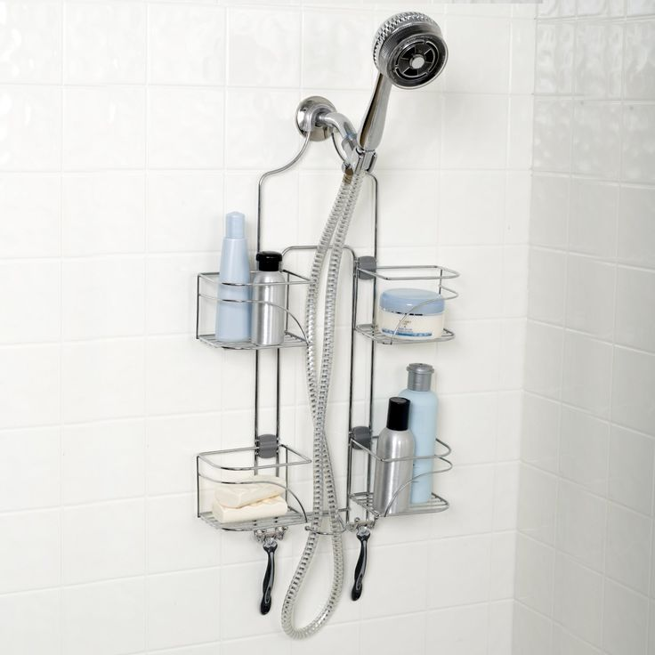 Zenith Products 7446ss Expandable Shower Caddy For Hand Held Shower Or Tall  Bottles, Chrome