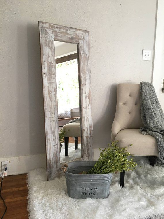 White Washed Rustic Floor Mirror Distressed Farmhouse Full Body Mirror Wooden Frame Full Length Mirror Rustic