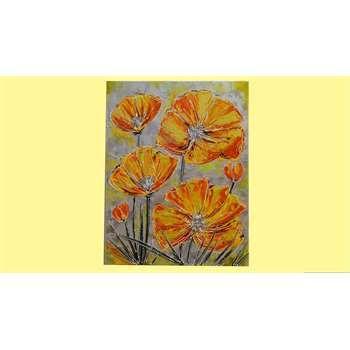 """Quadri Floreali """" Papaveri moderni arancioni """"Il quadro moderno con i papaveri è un tema spesso ricorrente perchè nella natura del soggetto si immerge la fantasia dell'artista. L'opera materica con papaveri stupisce con i suoi colori caldi gli ambienti moderni come anche quelli classici e di campagna."""