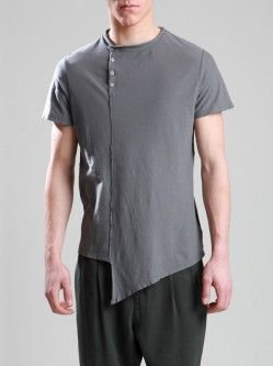 ASYMMETRIC FINE COTTON T-SHIRT WITH AGING EFFECT SPECIAL DYE