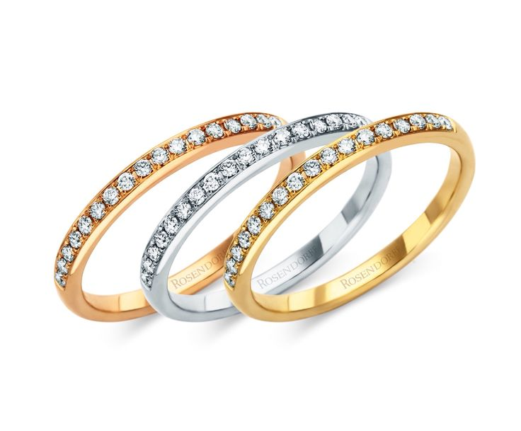 Rosendorff Diamond Wedding Rings in 18ct Rose, White and Yellow Gold