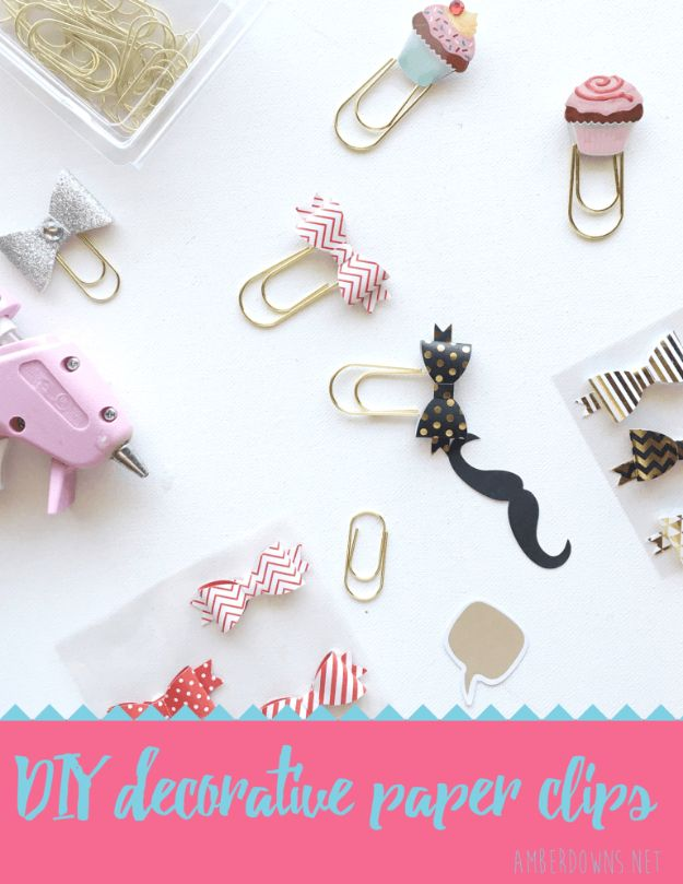 DIY Crafting Hacks - Make Your Own Decorative Clips - Easy Crafting Ideas for Quick DIY Projects - Awesome Creative, Crafty Ways for Dollar Store, Organizing, Yarn, Scissors and Pom Poms http://diyjoy.com/diy-crafting-hacks