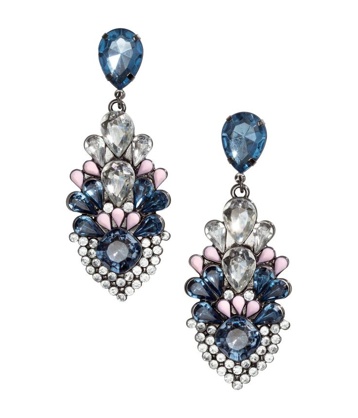 Bring on the bling in these statement rhinestone earrings with pink and blue accents. | H&M Accessories