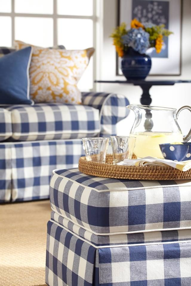 Ethan Allen Blue & White buffalo plaid chair and ottoman