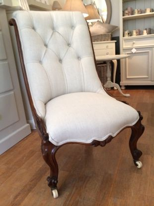Antique Upholstered Nursing Chair. Gorgeous chair, just NOT upholstered with this fabric! I'll be so happy to see this fad end.