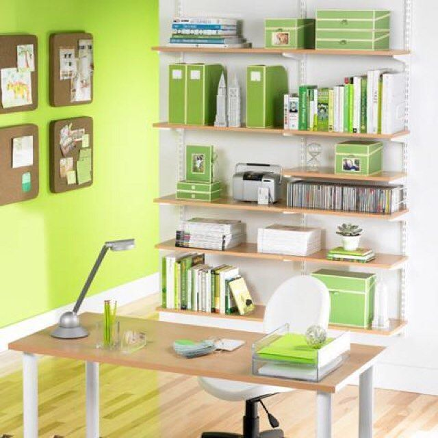Go green with this cool home office decor! (photo by MasterPeace Solutions)…