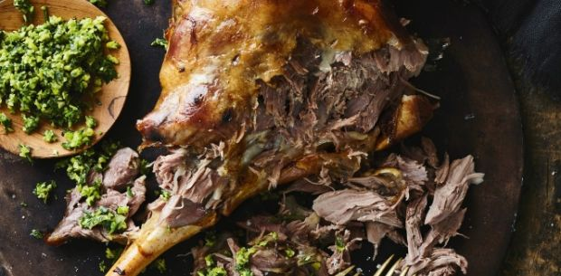 Slow roasted lamb leg with green olive gremolata