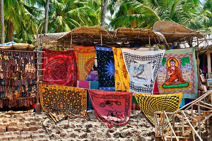 Colours of the tourist market by Anjuna Beach, Goa