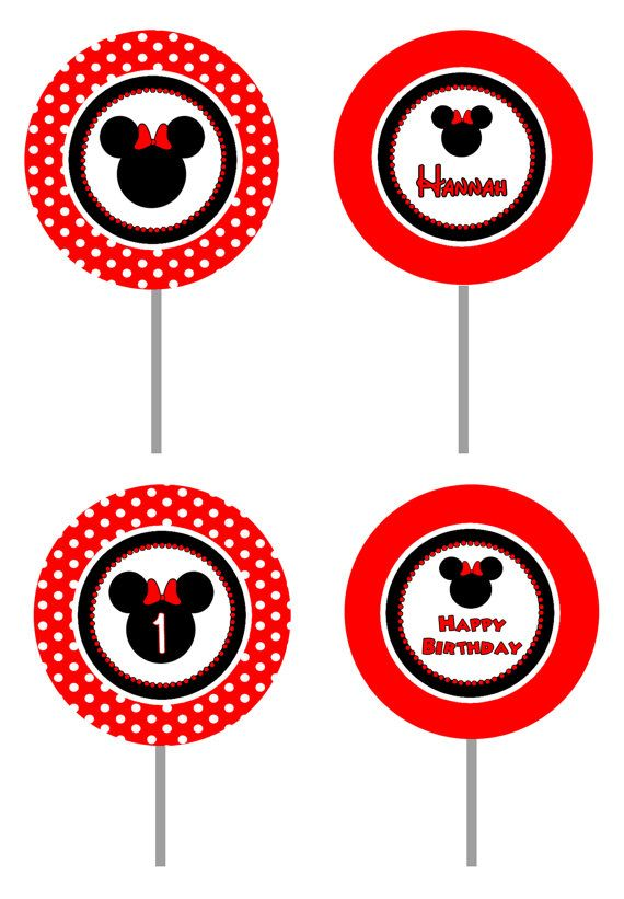 Red Minnie Mouse Inspired Cupcake Toppers | Partu ...