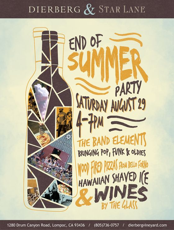 End of Summer winery wine tasting event poster design by Kat French Design. www.design-kat.com