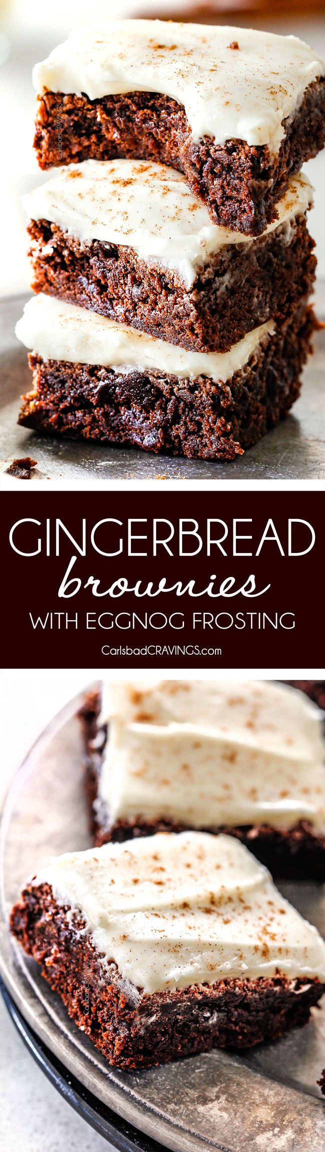 These soft and chewy Gingerbread Brownies are our family's new favorite holiday treat!  And the luscious Eggnog Cream Cheese Frosting is incredible!  I put it on everything!