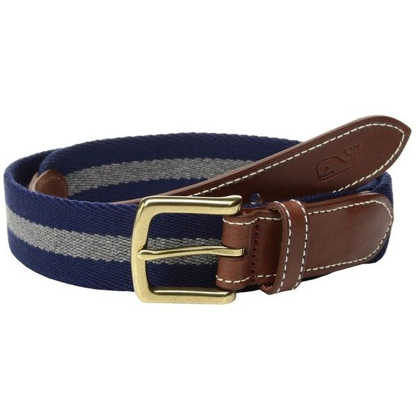 Vineyard Vines Heathered Wool Canvas Club Belt (Blue Blazer) Men's... ($78) ❤ liked on Polyvore featuring men's fashion, men's accessories, men's belts, vineyard vines mens belt, mens belts and mens blue belt