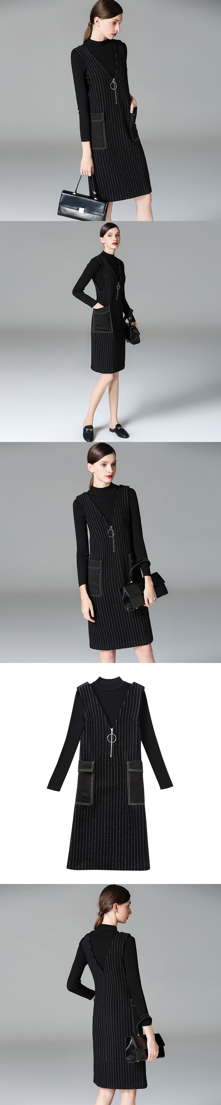 New Women Autumn Suits Office Lady Casual 2 Pieces Set Long Sleeve Knitted Sweaters + V Neck Striped Vest Dress free shipping