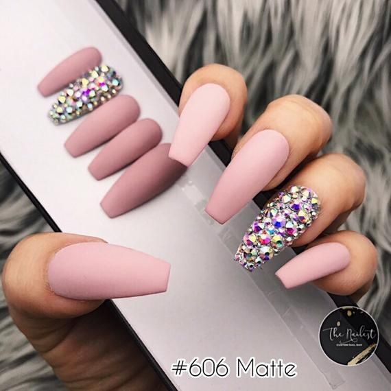 Solid Set W Crystal Bling Accent Press On Nails Any Shape Etsy Glue On Nails Press On Nails Fake Nails